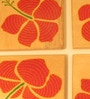 Aamori Pattachitra Hand Painted Red Flower Brown Wooden Coasters - Set of 4