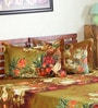 Aapno Rajasthan Brown Floral King Bed Sheet Set