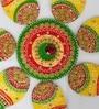 Multicolour Wood & Clay Handmade Floral Floor Rangoli by Aapno Rajasthan