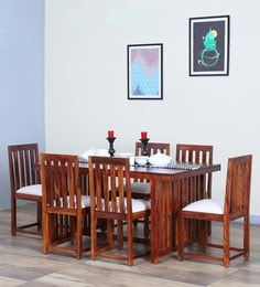 Abbey Six Seater Dining Set In Honey Oak Finish