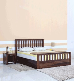 Captivating Abbey Solid Wood Queen Size Bed With Box Storage In Provincial Teak Finish  ...