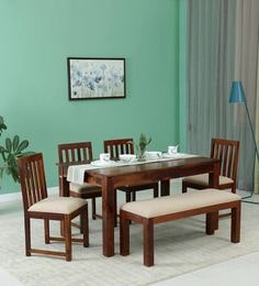 """Abbey Dining Set with 4 Black Faux Leather Chairs and Glass Table 47/"""" 4 Seater"""