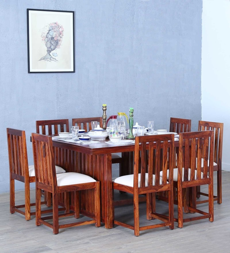 Abbey Eight Seater Dining Set in Honey Oak Finish by Woodsworth