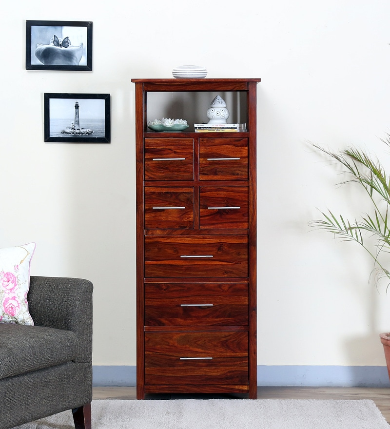 Abbey Tall Chest Of Drawer in Honey Oak Finish by Woodsworth