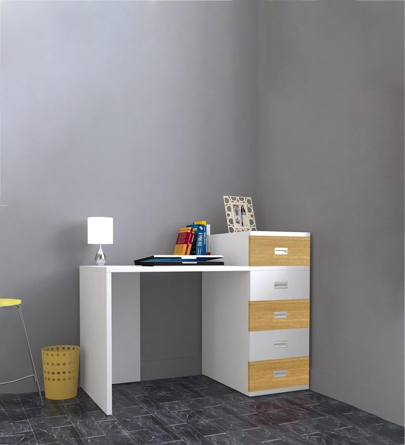 Abby Study Table with Drawers - III in Urban Teak & White Colour by UNiCOS