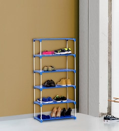 Ace Multipurpose 6 Tier Steel Shoe Rack with Plastic Shelves in Blue & White Colour ...