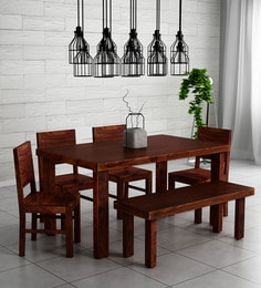 698068d88b8 Acropolis Solid Wood Six Seater Dining Set with Bench in Honey Oak Finish  ...