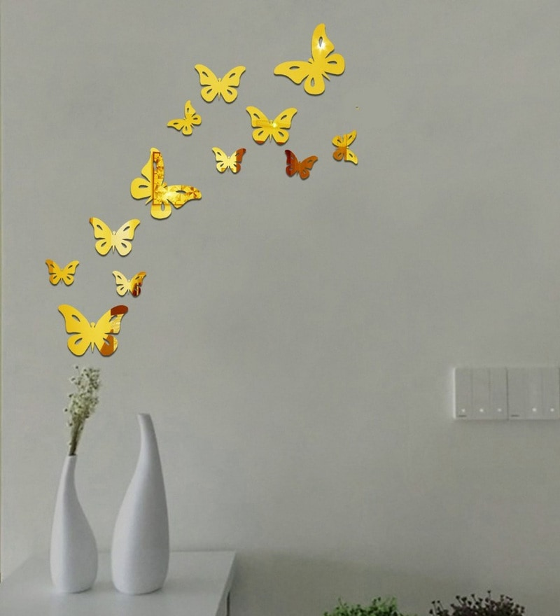 Acrylic 12 Butterflies Gold Wall Decals by Sehaz Artworks