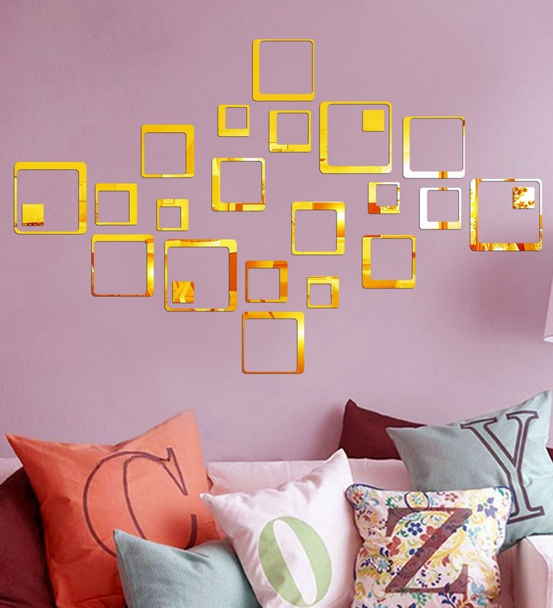 Acrylic 24 Gold Squares Wall Decals by Sehaz Artworks