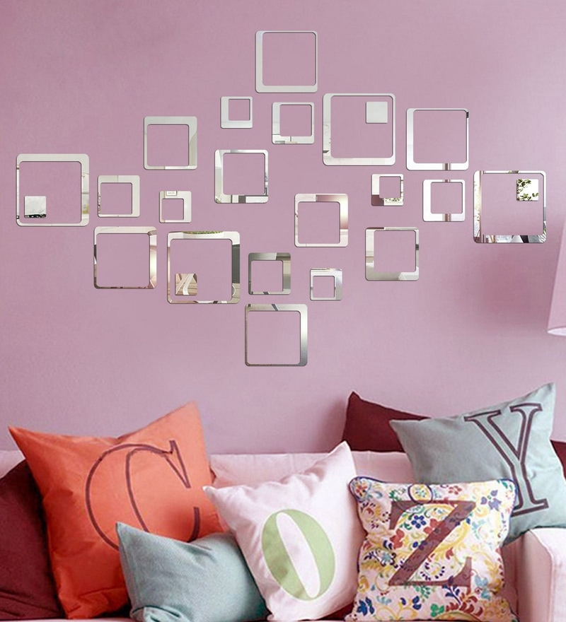 Acrylic 24 Silver Squares Wall Decals by Sehaz Artworks