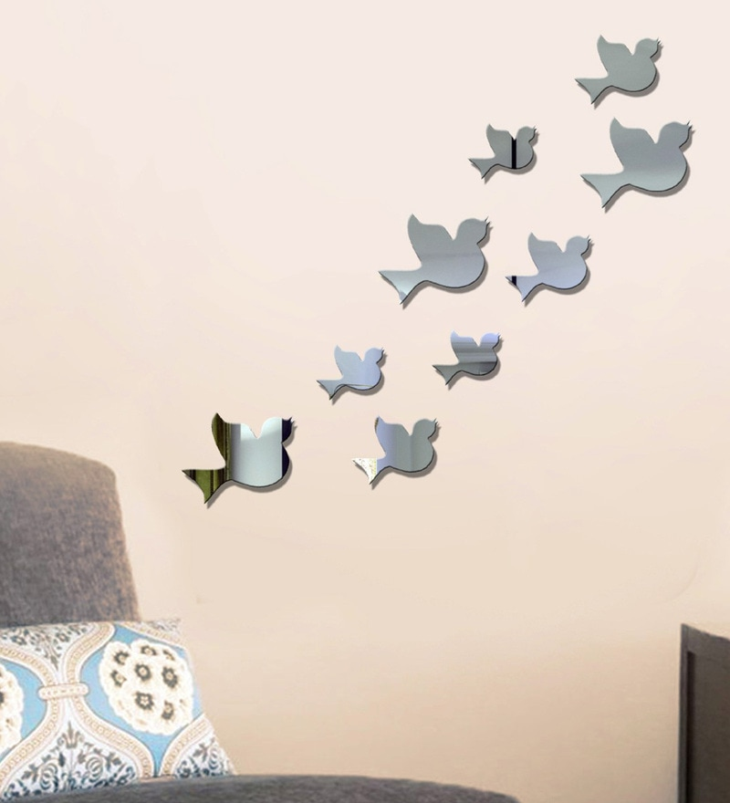 Acrylic Silver Birds Wall Decals by Sehaz Artworks