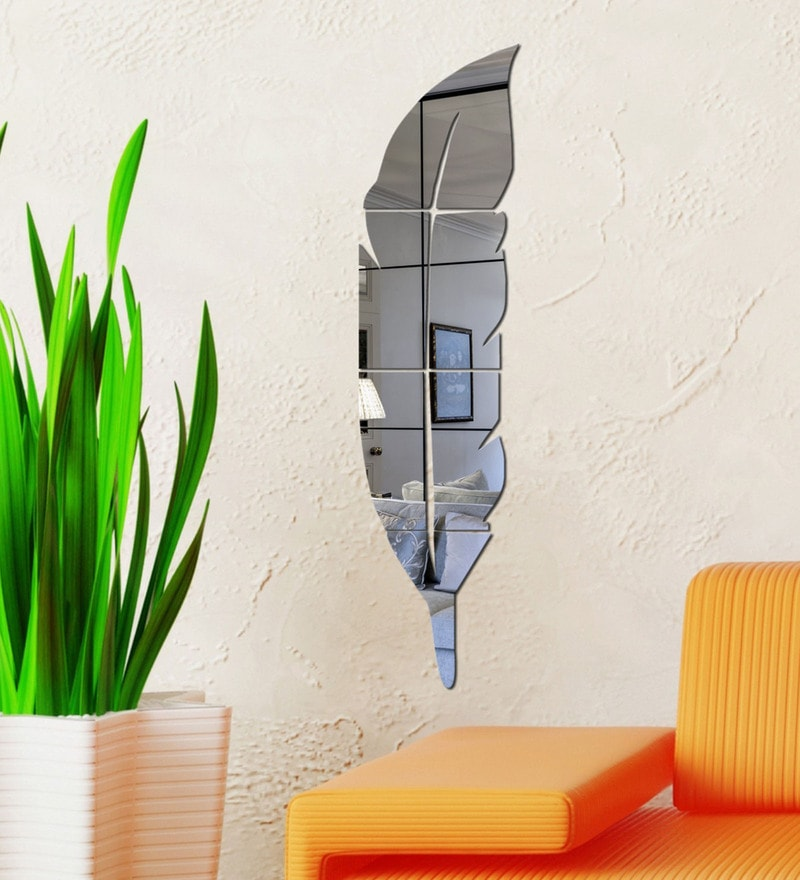 Acrylic Silver Feather Wall Decals by Sehaz Artworks