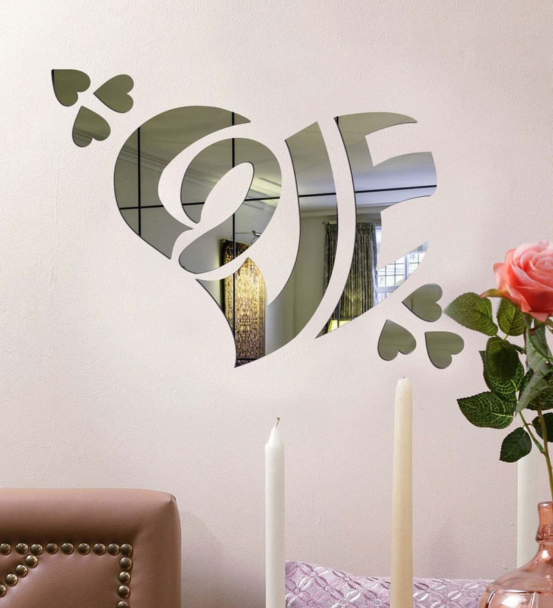 Acrylic Silver Love Heart Wall Decals by Sehaz Artworks