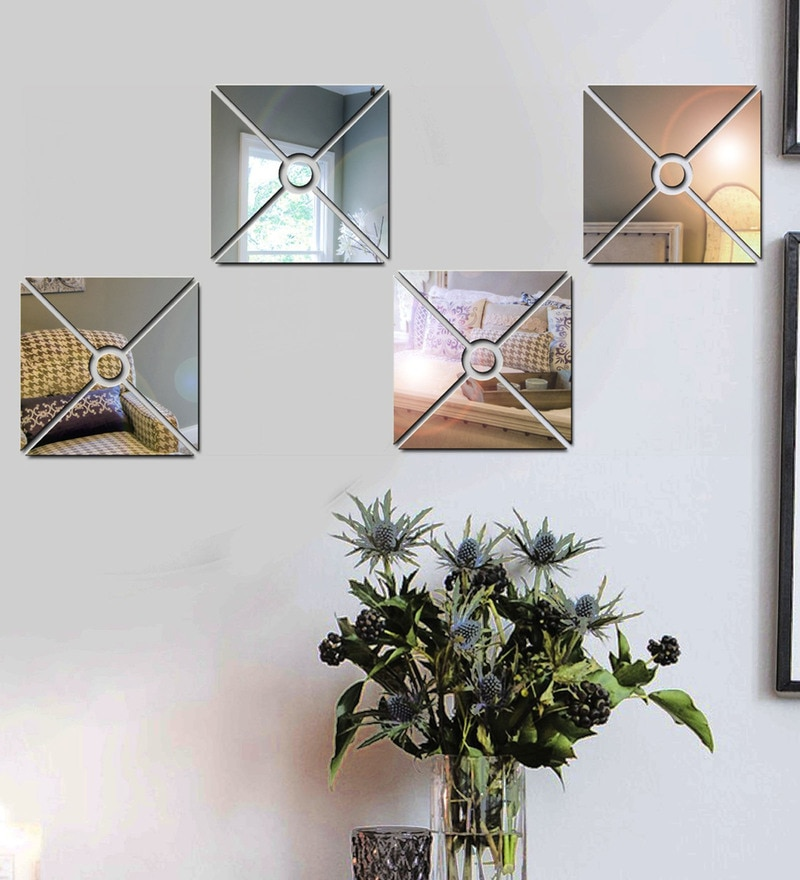 Acrylic Silver Triangle Pattern Wall Decals by Sehaz Artworks