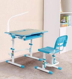 Adjustable Study Table & Ergonomic Chair Set With Book Stand And Night Study LED Lamp In Blue Color