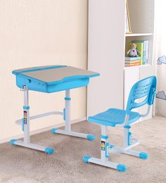 Adjustable Study Table And Ergonomic Chair Set With Auto Height Lock Features In Blue Color