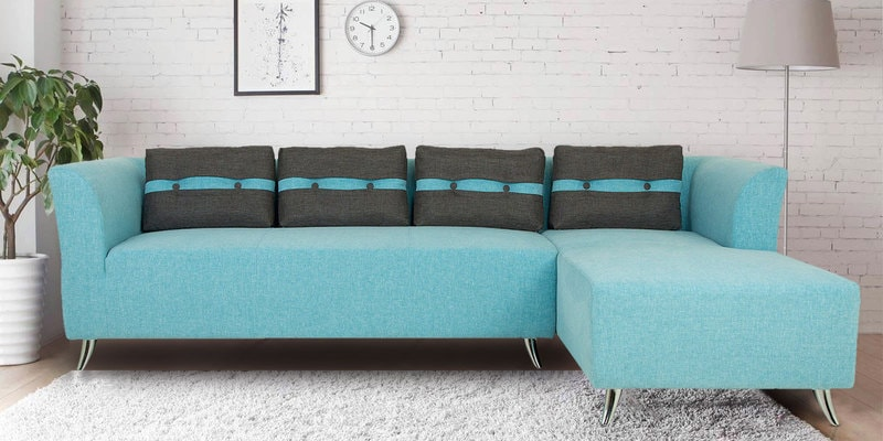Adelia LHS Three Seater Sofa with Lounger in Celeste Blue Colour by CasaCraft