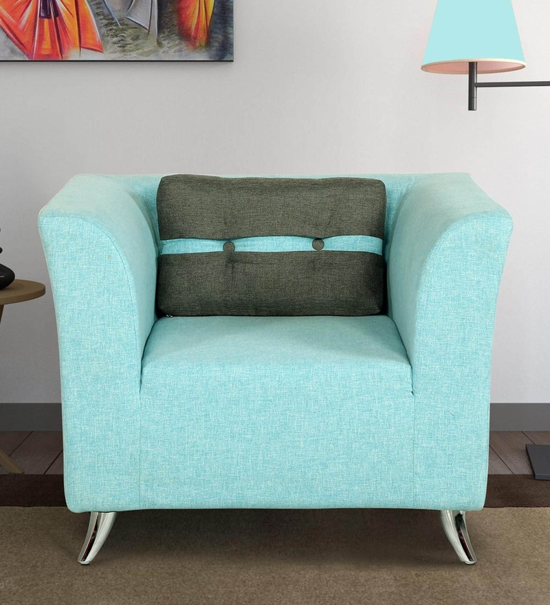 Adelia One Seater Sofa in Celeste Blue Colour by CasaCraft
