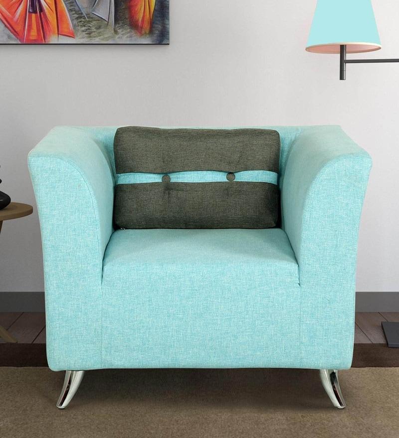 Adelia One Seater Sofa in Celeste Blue Colour by CasaCraft