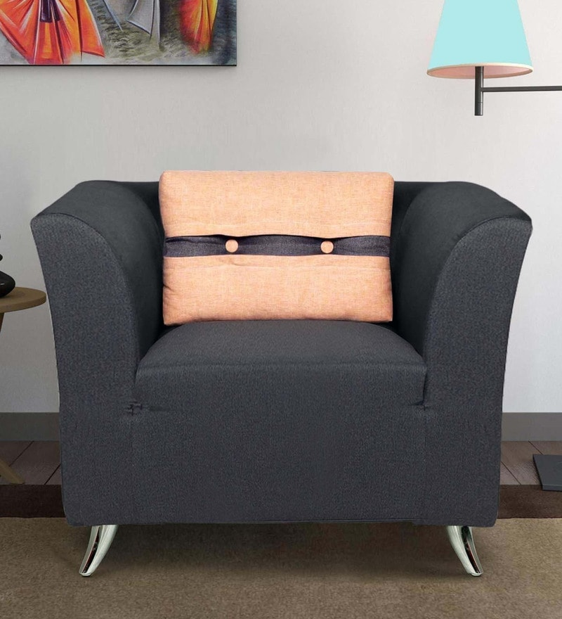 Adelia One Seater Sofa in Steel Grey Colour by CasaCraft