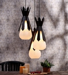 Aesthetics Home Solution Brown And White Glass And Wood Hanging Light - 1595760