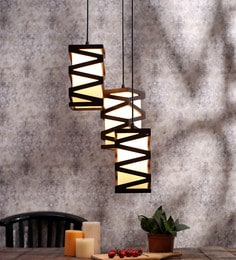 Aesthetics Home Solution Brown And White Glass And Wood Hanging Light - 1595759