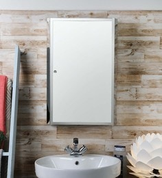 Aesthetics Home Solution Chrome Stainless Steel 16 X 5 X 23 Inch Mirror Bathroom Cabinet