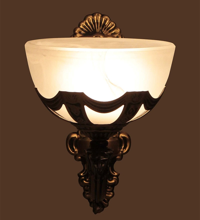 Buy White Glass Wall Mounted Wall Light By Aesthetics Home