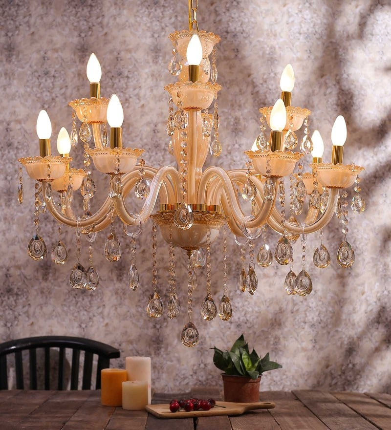 Beige Glass Chandelier by Aesthetic Home Solutions