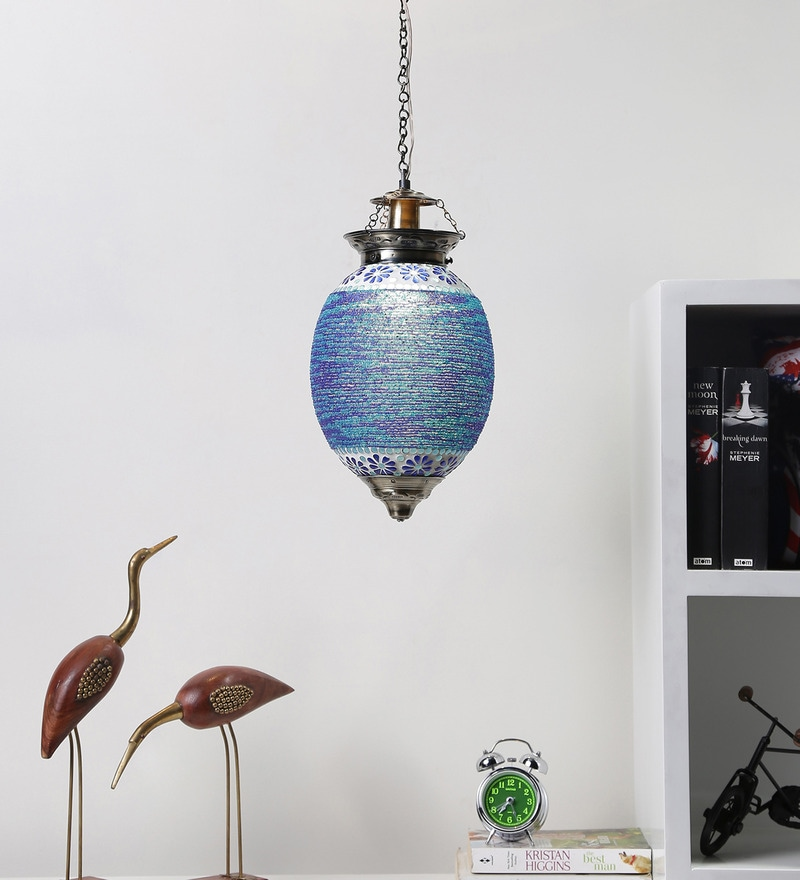 Blue Glass Hanging Light by Aesthetics Home Solution