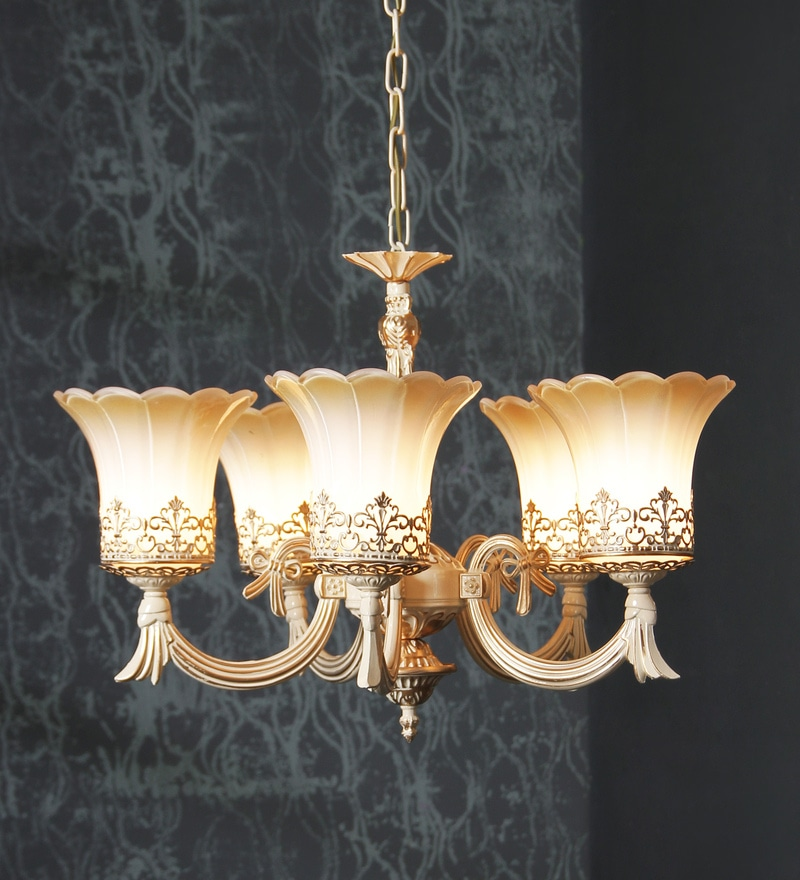 Brown and White Glass Chandelier by Aesthetics Home Solution