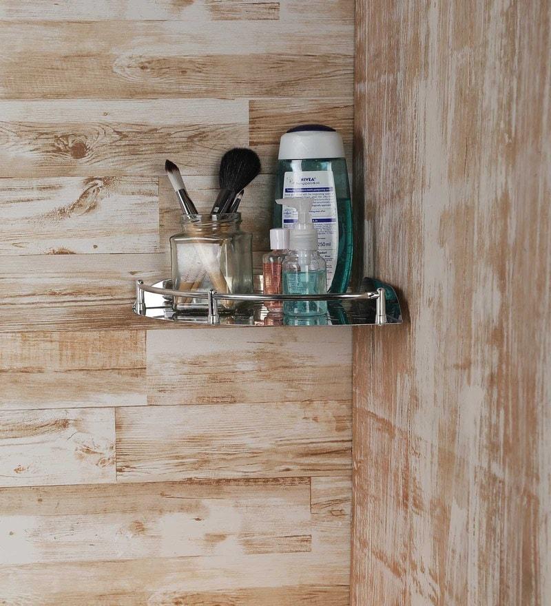 Aesthetic Home Solutions Chrome Steel 12 x 9 x 1.5 Inch Corner Bathroom Shelf
