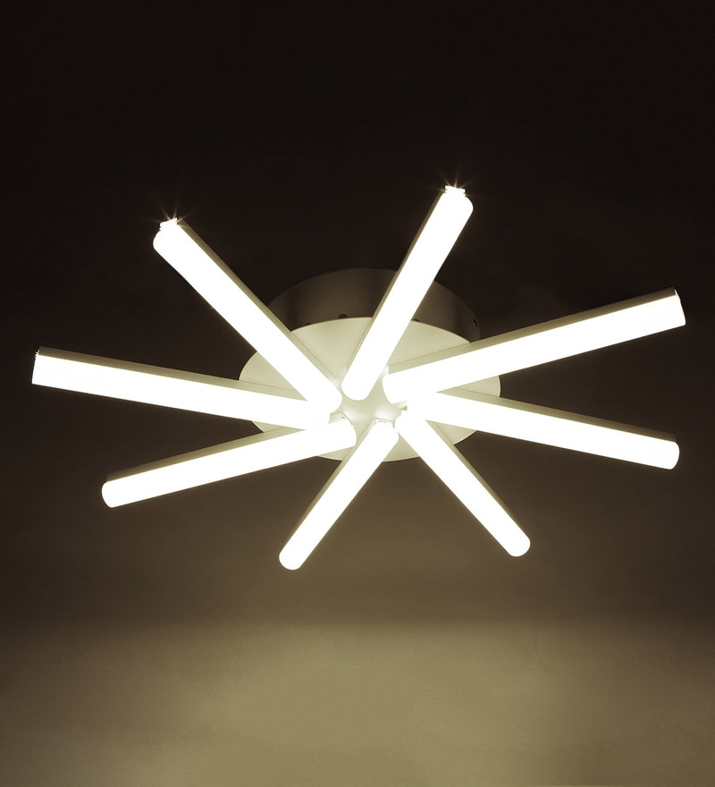 Contemporary White Glass & Metal 8-shade LED Chandelier by Aesthetic Home Solutions