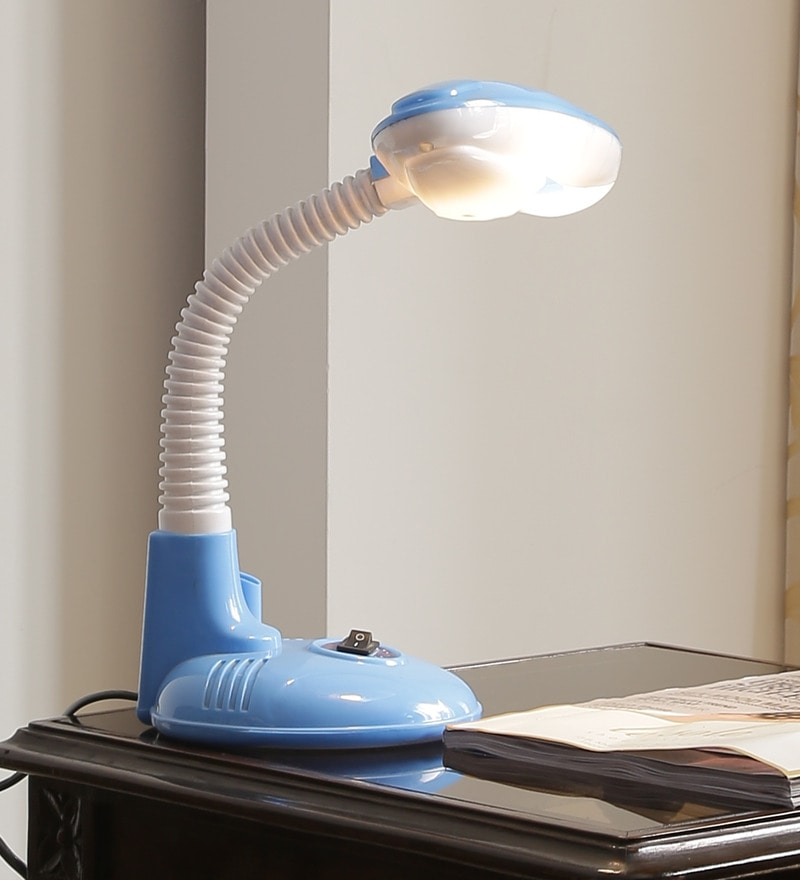 Aesthetic Home Solutions Contemporary White & Blue Plastic Study Lamp