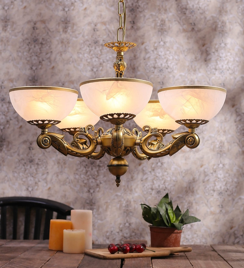 White and Gold Glass Chandelier by Aesthetic Home Solutions