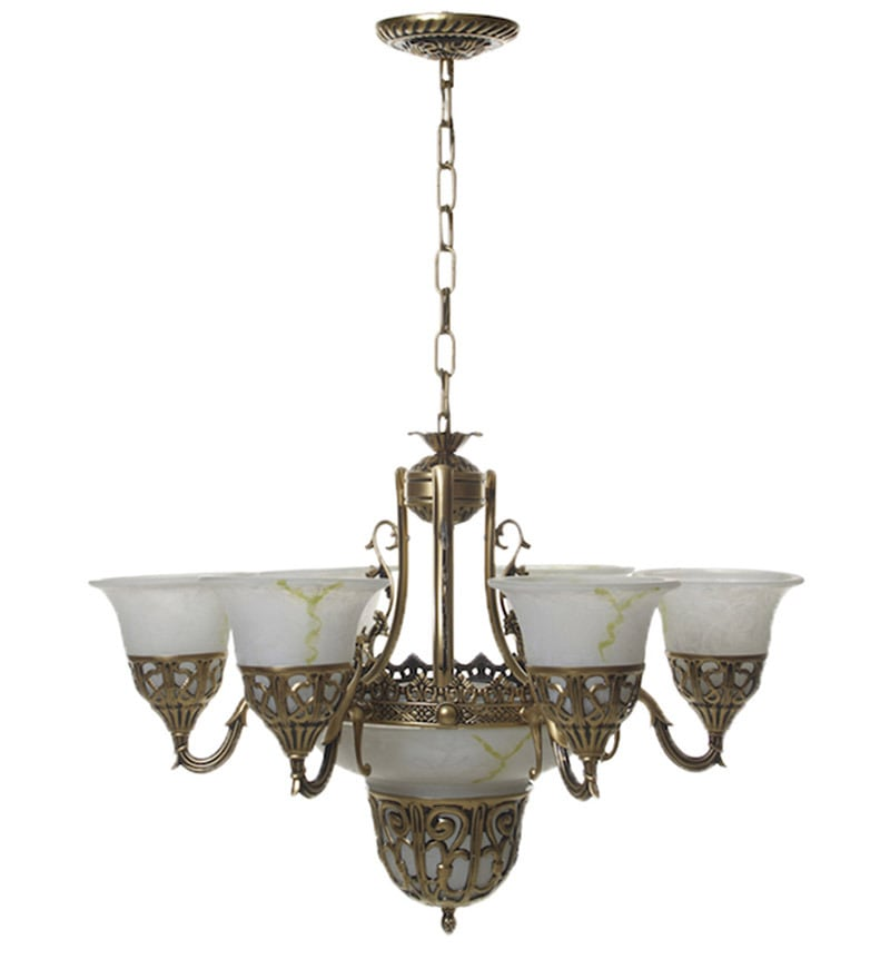 Crystal Chandelier Online India: Buy Portuguese Style Antique Aluminium 9 Lamp Shades