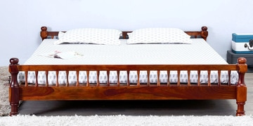 Agastya Queen Size Bed in Honey Oak Finish by Mudramark at pepperfry
