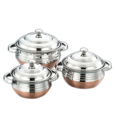 Airan Designer Stainless Steel Hard Anodized Lidded Handi - Set Of 3