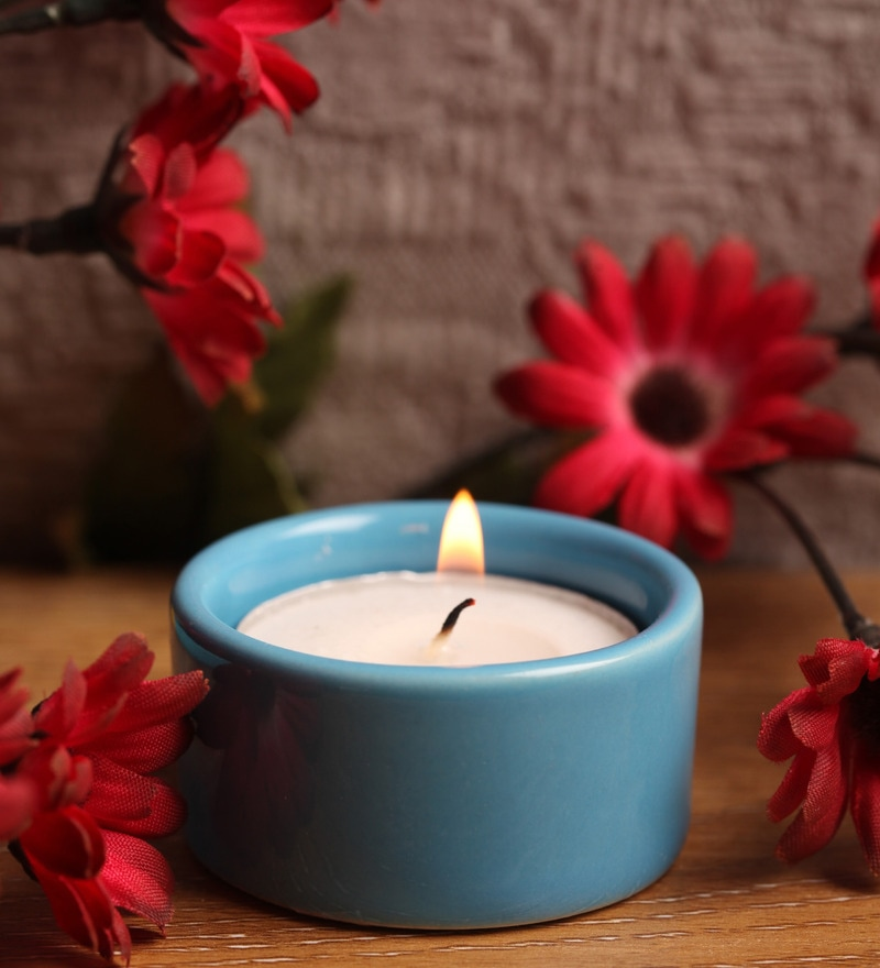 Blue Stone Festive Tea Light Holder by Aion