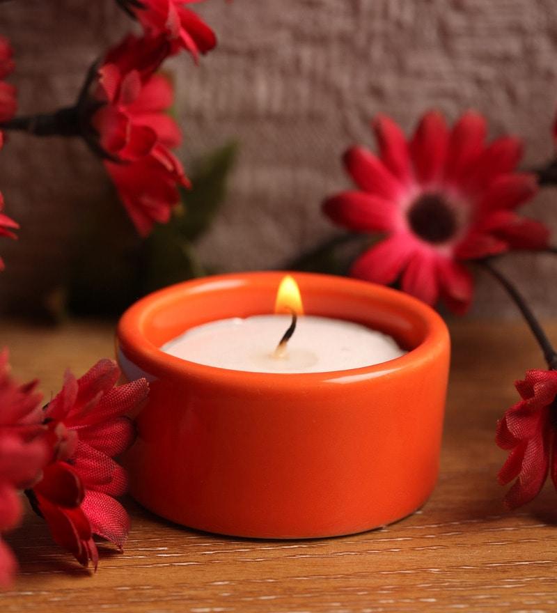 Orange Stone Festive Tea Light Holder by Aion