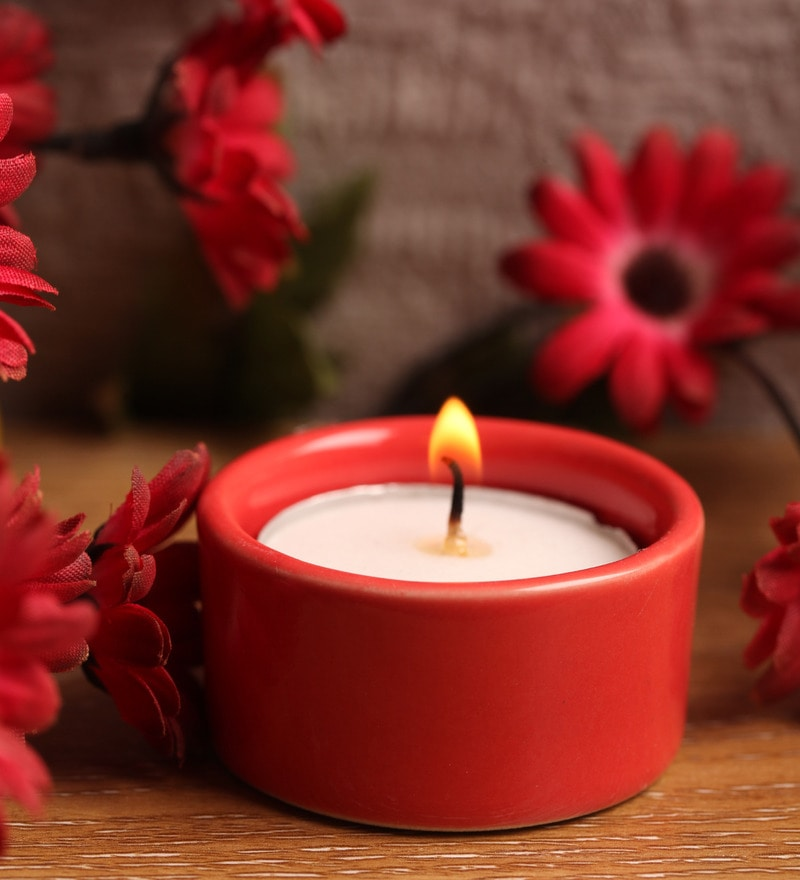Red Stone Festive Tea Light Holder by Aion