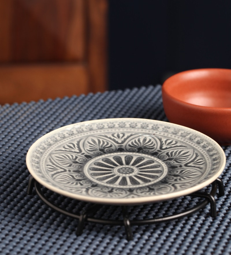 Aion Gray Ceramic 100 ML Round Dish Plate