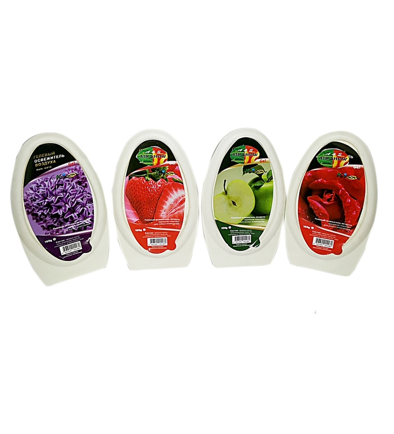 Air Show Rose, Apple, Strawberry, Lavender Gel Air Fresheners - Set of 4