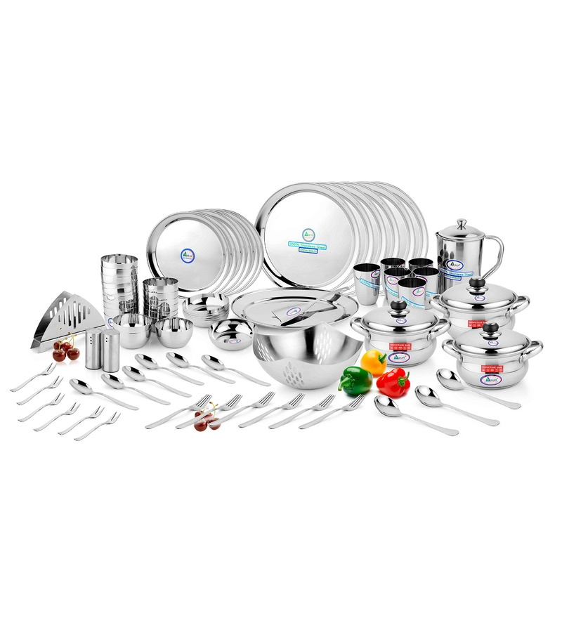 Crystal Stainless Steel 72-Piece Dinner Set by Airan