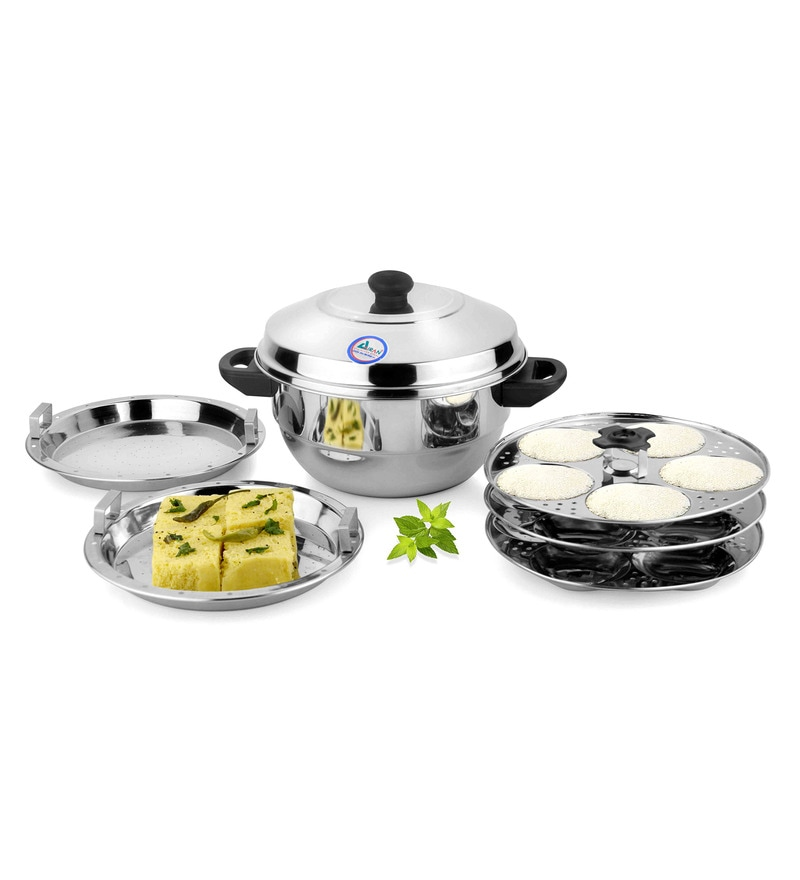 Airan Silver Stainless Steel Hard Anodized Idli and Dhokla Maker