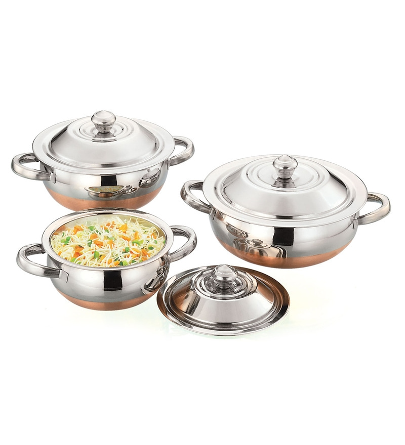 Shahi Stainless Steel Hard Anodized Lidded Pot - Set of 3 by Airan