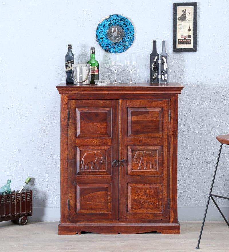 Airavana Bar Cabinets in Honey Oak Finish by Mudramark