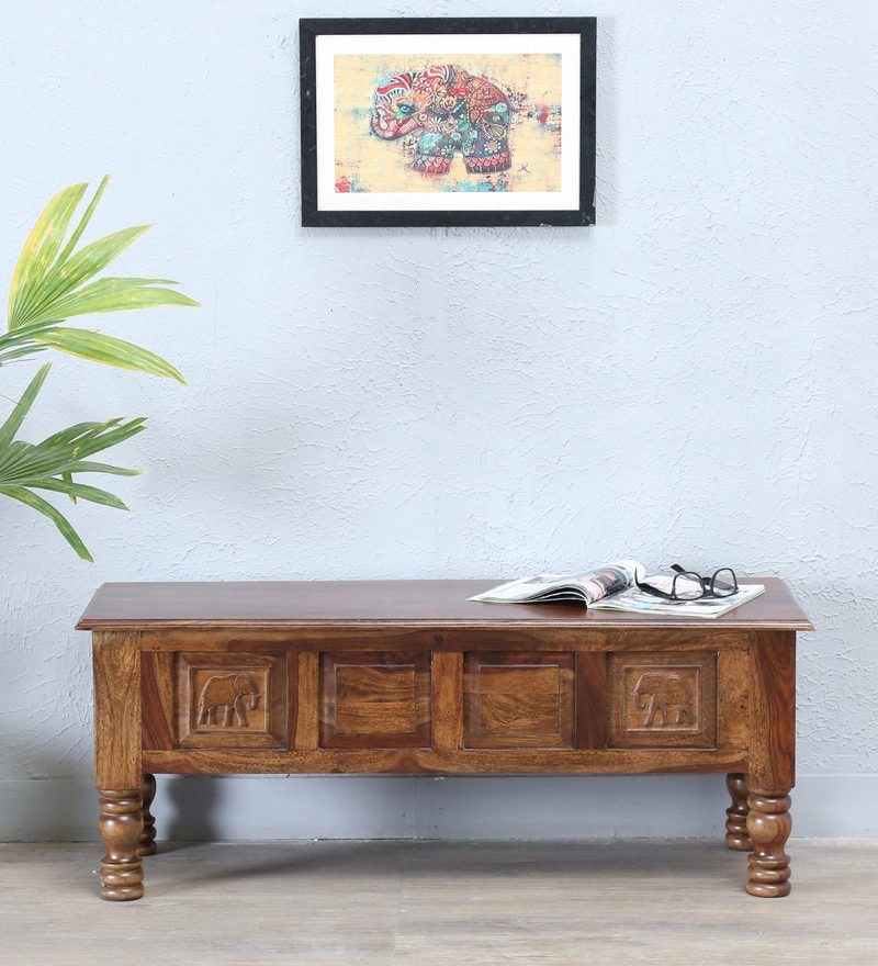 Wood Bench With Traditional Style Inspired by Indian Art And Craft