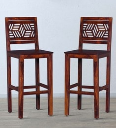 Alder Bar Chair (Set Of Two) In Honey Oak Finish