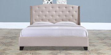 Alexander Queen Size Upholstered Bed In Beige Finish